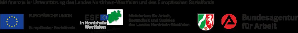 Logos des Europäischen Sozialfonds, Ministerium für Arbeit, Gesundheit und Soziales des Landes Nordrhein-Westfalen und der Agentur für Arbeit.